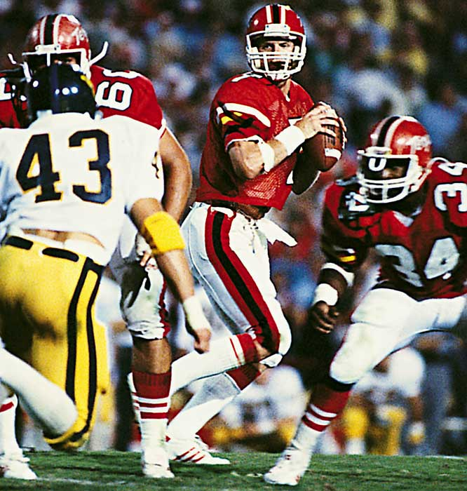 The two-time All-America quarterback set 17 school records as a Terp. He led his team to the 1983 ACC championship and into the Tangerine Bowl the same year. The lefthander was a four-time Pro Bowl player and was named the NFL's MVP in '88.