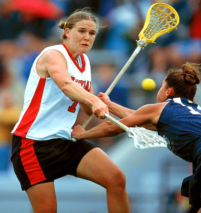 Adams smashed both college and NCAA records. She is the all-time collegiate scoring and assists leader (445, 178). In terms of Terrapin records, she ranks first in career and single-season points, goals and assists. Adams, a three-time All-America and National Player of the Year, scored more goals and assists in 2001 than any other player in NCAA Division I. The Australian native is now back in College Park as the team's Associate Head Coach.