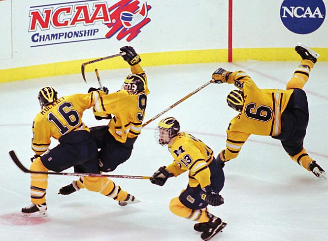 Even though Canadian-born hockey center Brendan Morrison was chosen in the second round of the 1993 NHL Entry Draft, he ended up playing for Michigan instead. He was named CCHA Rookie of the Year in 1994 and eventually becoming a three-time All-America selection. In his junior season, he led the Wolverines to the national championship in and was tournament MVP. The following year he finished with 31 goals, 57 assists and 88 points and was awarded the Hobey Baker Award for the best NCAA ice hockey player.