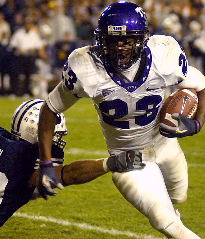 The Horned Frogs return a dangerous tailback tandem in senior Aaron Brown (23) and junior Joseph Turner and boast the MWC's defensive player of the year in senior linebacker Jason Phillips. TCU's season will likely be determined by whether Andy Dalton can improve on his 10-11 touchdown-to-interception ratio of 2007.