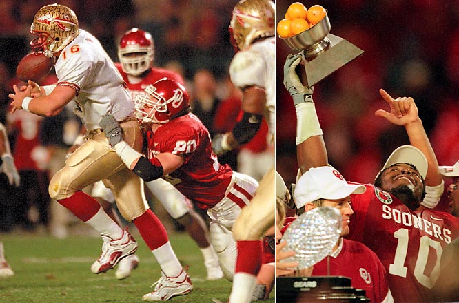 In ''The Great Conference Debate,'' SI.com used a variety of statistical data to examine how conference strength has shifted over the 10-year BCS era (1998-2008). Here are 10 memorable on-field moments that, in retrospect, signaled significant shifts in power. <br><br>The Sooners' stunning near-shutout of the Seminoles ushered in a new era of power in the Big 12 South while also marking the end of FSU' 14-year run of dominance. The ACC finished sixth in SI.com's CPI standings from 1998-2003.
