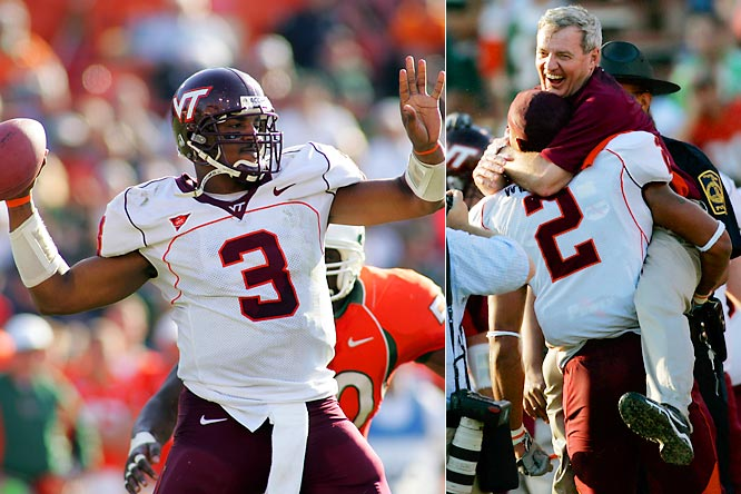 Many assumed the expanded ACC would be ruled by longtime powers Miami and Florida State. The Hokies, however, turned the tables, winning the league in their first year. The `Canes, coming off four straight Big East titles, would soon sink to mediocrity.