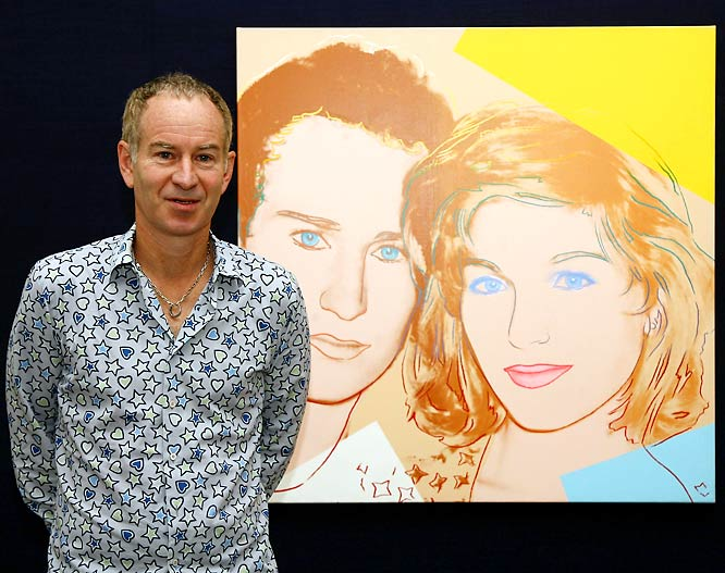 Tennis ace John McEnroe marries actress Tatum O'Neal. Here McEnroe poses next to Andy Warhol's Portrait of John McEnroe and Tatum O'Neal, 1986.