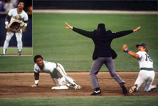 In the 5-4 loss to the Brewers, A's Rickey Henderson breaks Lou Brock's single-season record of 118 stolen bases. By stealing a total of four bases, Henderson ends the day with 122 and will finish the season with 130.