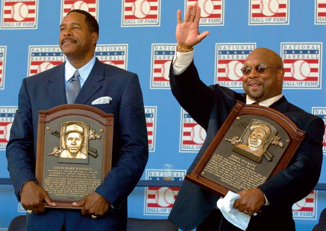Former Twin teammates Kirby Puckett and Dave Winfield along with 1960 World Series hero Bill Mazeroski and the late Negro Leagues pitcher Hilton Smith are enshrined into the Baseball Hall of Fame.