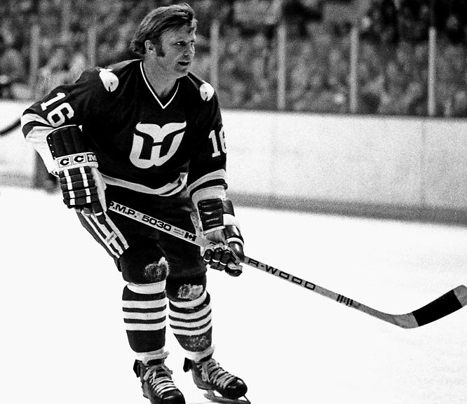 A fearsome scorer with the Blackhawks who made waves by accepting a 10-year, million dollar deal from Winnipeg of the WHA in 1972, the Golden Jet was finally slowed by injuries and age. After the 1979 NHL-WHA merger, Hull, 40, was reportedly in dire financial straits when he decided to come out of retirement. He played 18 games for the Jets before being traded to the Whalers for future considerations. Teaming with Gordie Howe in one of history's more grandly geriatric pairings, Hull lit the lamp twice in nine regular season games and not at all in three playoff matches before retiring for good.