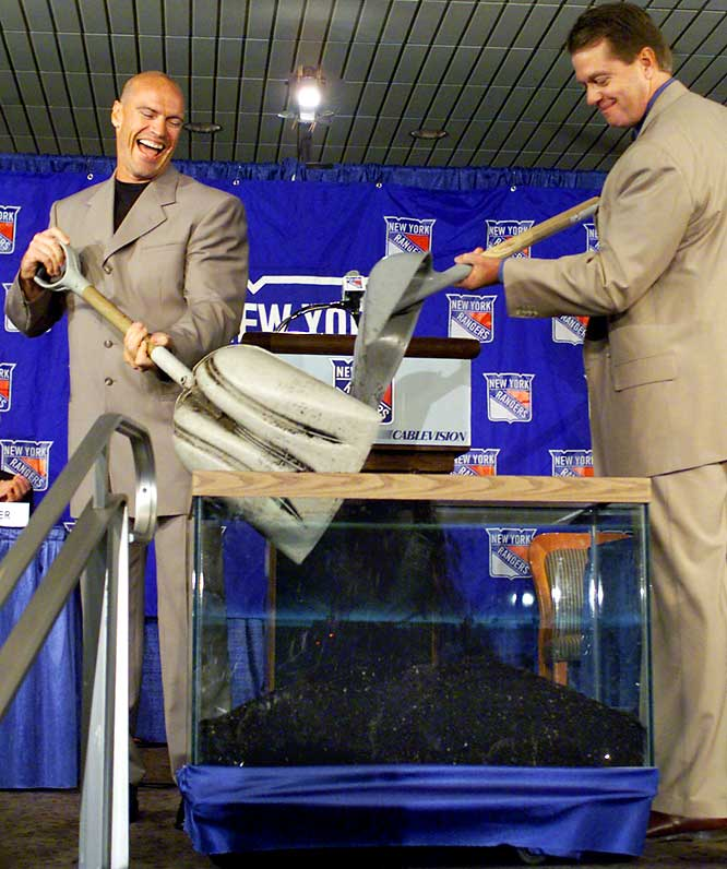 The 2000-01 season marked the second coming of the man most responsible for ending the Rangers' 54-year Stanley Cup drought. But the revered leader was 39 and coming off three lackluster, playoff-less seasons with Vancouver. Nevertheless, the reunion was emotional, with Messier and Rangers GM Neil Smith symbolically burying a hatchet. (Their contract dispute led to Messier's departure in 1997.) The captain guaranteed a playoff berth for the Rangers, who hadn't seen one in three years, but never made good on it  He retired four years later, without scoring more than 24 goals or 67 points.