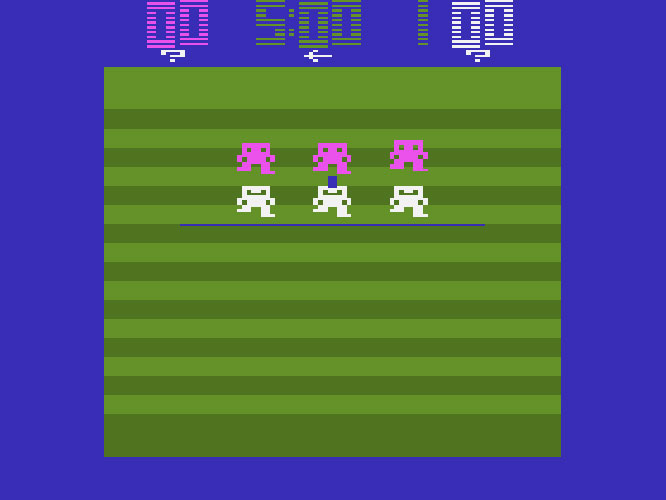 With just four men on each team -- three linemen and a quarterback -- Atari's first football effort didn't exactly smack of realism. Teams could score touchdowns and safeties but not field goals.