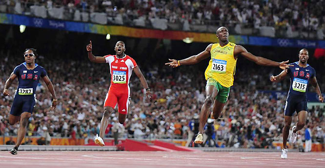 Bolt beat Richard Thompson of Trinidad and Tobago (3025) by 0.2 second -- more than a body length.