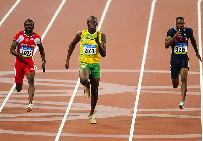 With the finish line nearing, Bolt actually took the time to look to his right to see if anyone was closing in.