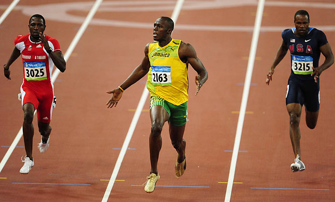 Bolt actually started celebrating his victory 10 strides before reaching the finish line.