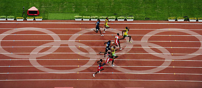 Bolt, who actually skidded from the blocks, needed 41 strides to cover the 100 meters and practically loped past the finish line.