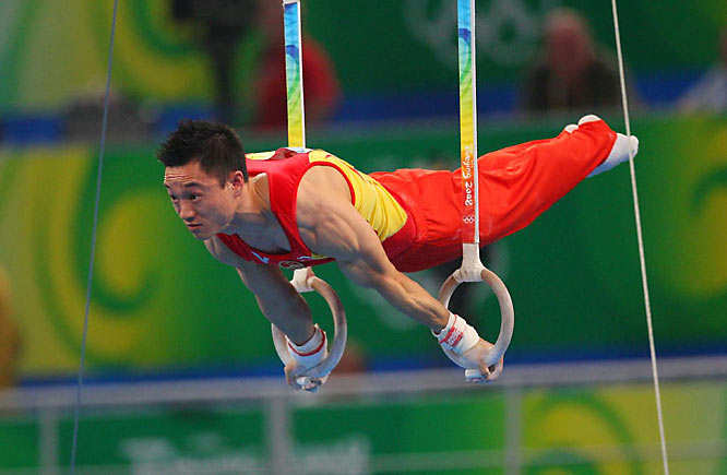 Chinese gymnast Yang Wei competes in a qualifying round.