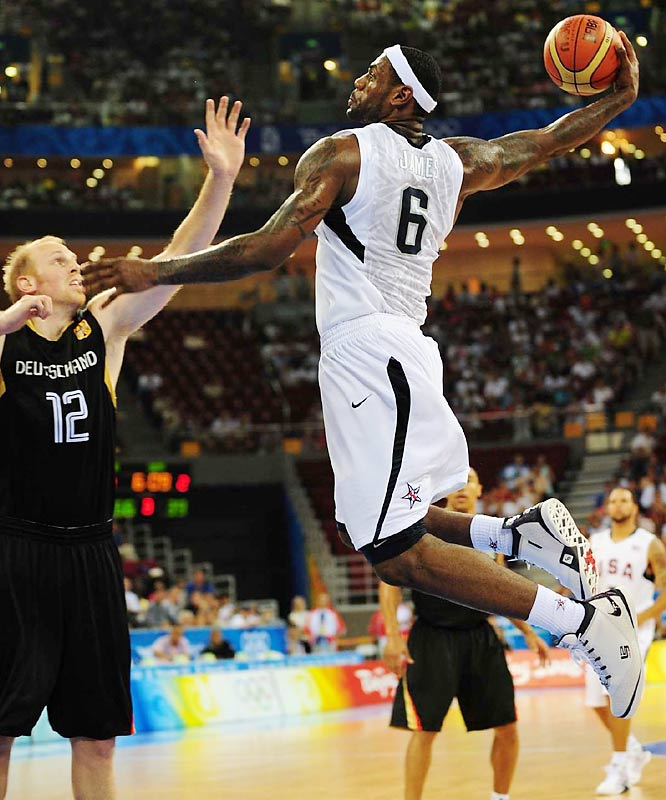 LeBron James attempts to score against Germany.