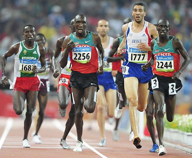 Men's 3000m Steeplechase Final:2244 Ezekiel Kemboi KEN gold<br>1777 Mahiedine Mekhissi FRA silver<br>2256 Richard Kipkemboi Mateelong KEN bronze.