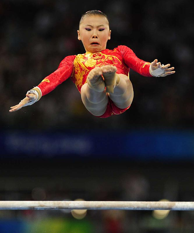 He Kexin of China won the gold in the uneven bars.