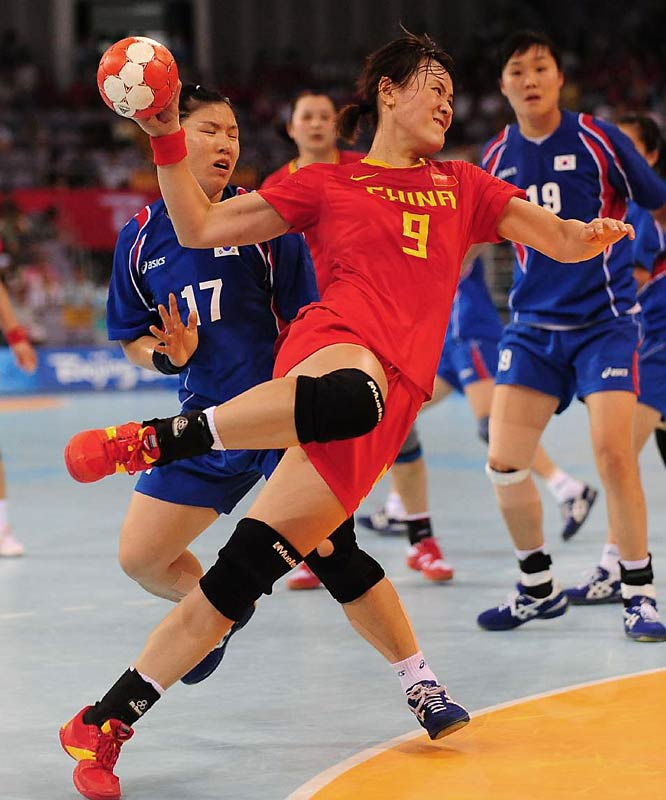Wang Min of China during the team handball quarterfinals against Korea.