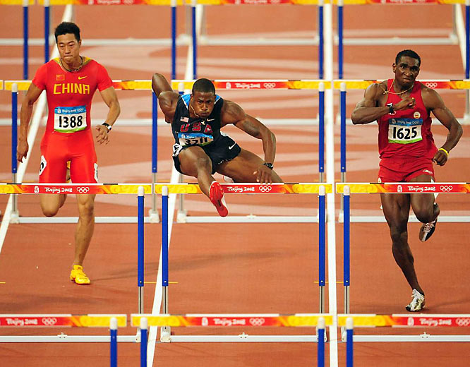 David Oliver of the U.S. (center) during round two of the 110-meter hurdles.
