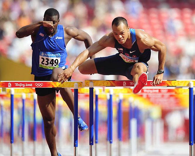 Decathlete Bryan Clay of the U.S. in the 110-meter hurdles.