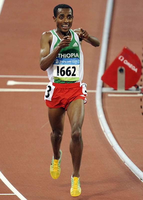 Kenenisa Bekele of Ethiopia won a rare long-distance double on Saturday when he won the 5000-meter to add to his 10,000-meter Olympic crown.