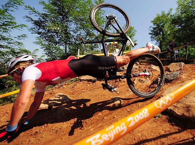 Nathalie Schneitter of Switzerland took a tumble in the women's cross country.