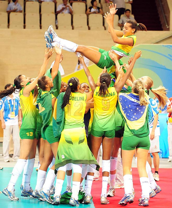 Team Brazil celebrates their gold medal win against the U.S.