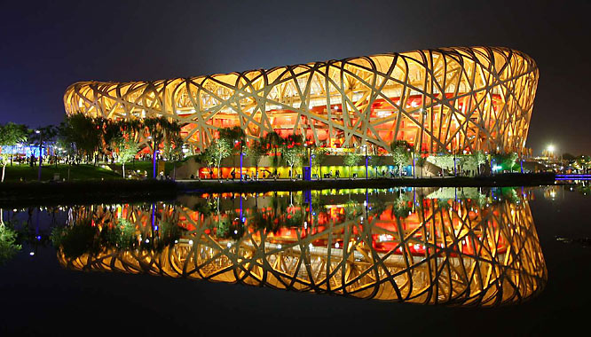 "Beijing's National Stadium, or ""Birds Nest"", the night before closing ceremonies."