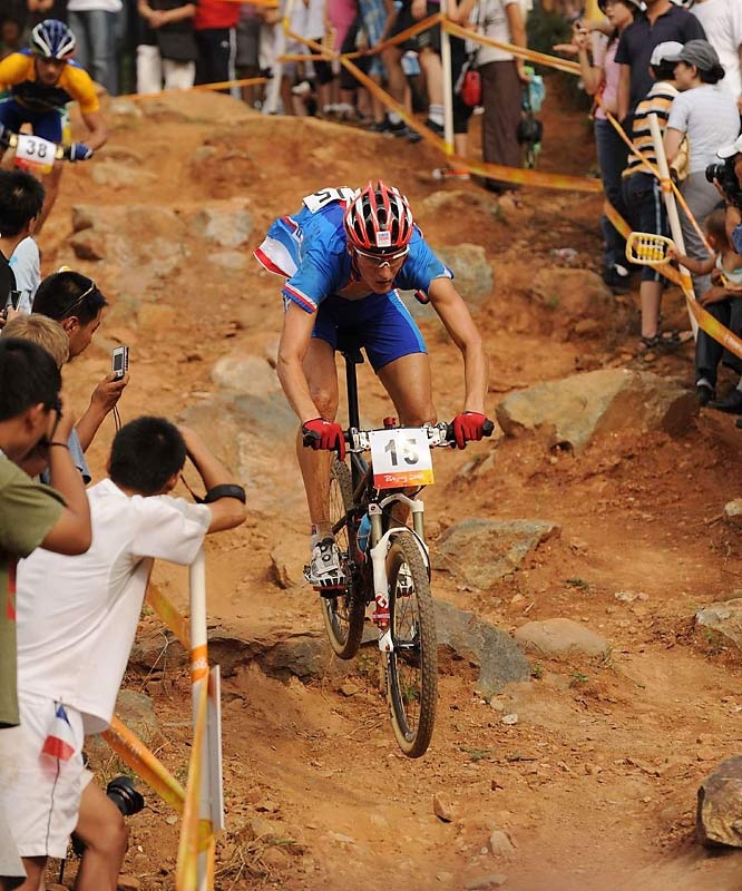 Jaroslav Kulhavy of the Czech Republic negotiates the rough terrain in the cross country mountain bike race.