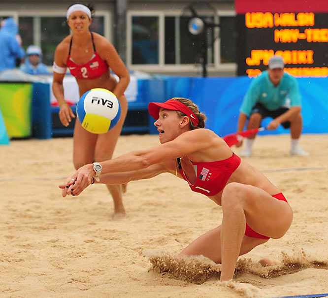 Kerri Walsh during a prelim match against Japan on Day 2.