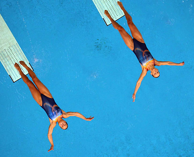 Divers at the women's synchronized 3m springboard event.