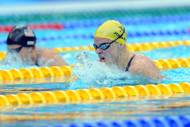 Australia's Leisel Jones won gold in the 100m breaststroke with a time of 1:05.17.