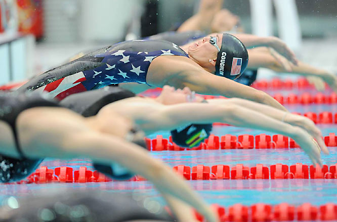 Coughlin held off world record-holder Kirsty Coventry of Zimbabwe, who finished second.