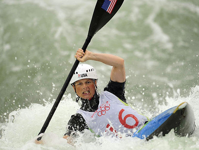 Heather Corrie of the U.S. in a heat of the kayak competition.
