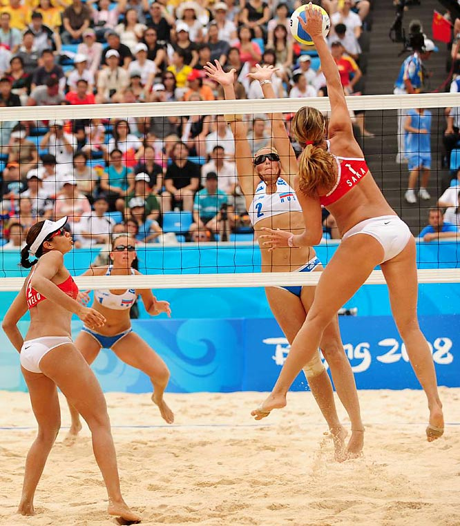 Cristine Santanna of Georgia spikes against her Russian counterparts in a match that the Georgians won 10-21, 22-20, 15-12.