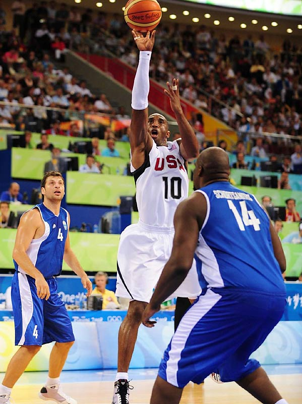 Kobe Bryant hit 7 of 14 from the field and finished with 18 points as the U.S. defeated Greece 92-69.