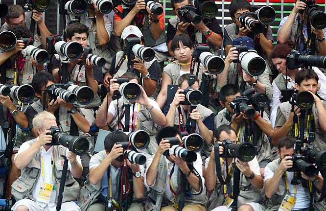 Michael Phelps' quest to win eight gold medals has drawn a lot of attention from photographers.