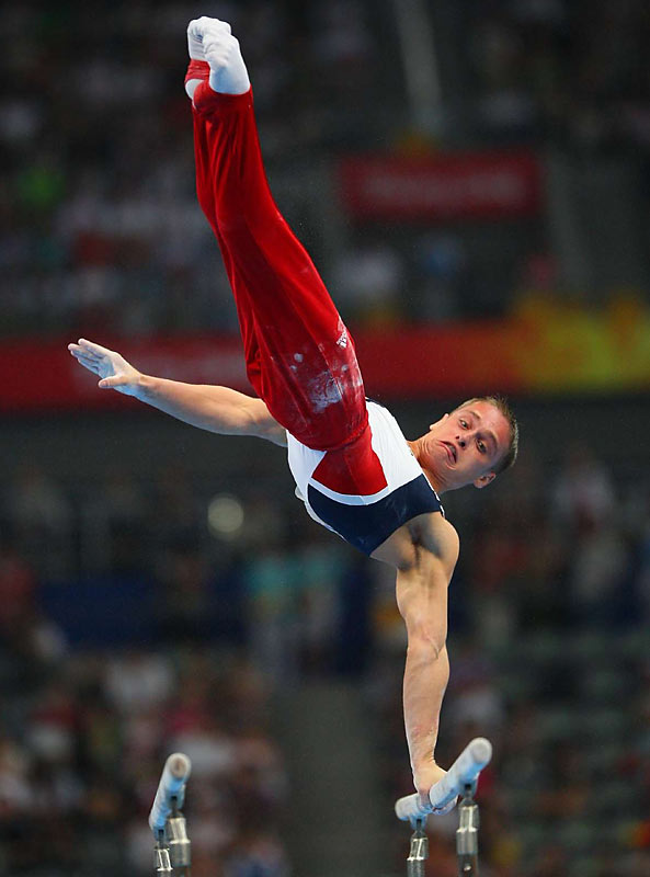 Alexander Artemev of the U.S. competes in the individual all-around final, in which he finished 12th.