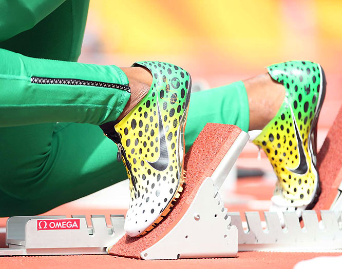 A closeup of Asafa Powell's shoes at the 100m preliminary.