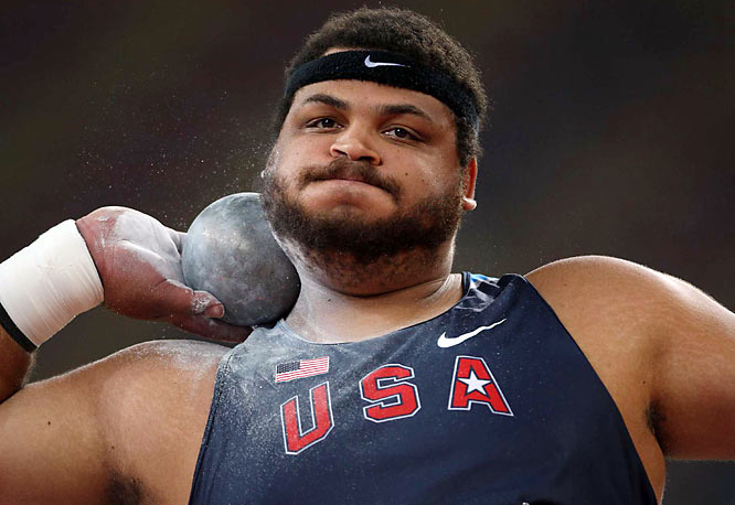 Reese Hoffa finished seventh in the shot put.