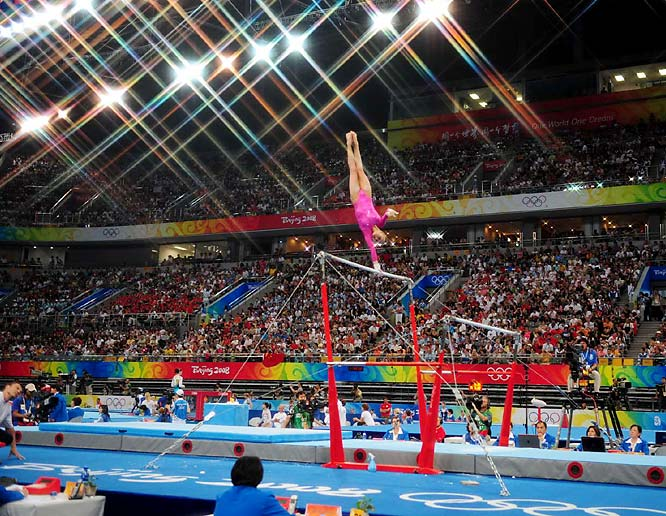 Nastia Liukin of the U.S. competing in uneven bars, her best event. She went on to win the all-around gold.