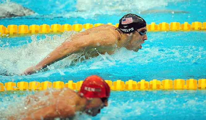 Michael Phelps won his heat but will face stiff competition in the final.