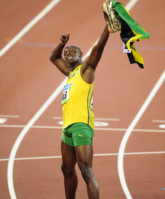 Usain Bolt of Jamaica easily broke his own world record in the 100 meters to win the Olympic gold in 9.69 seconds.