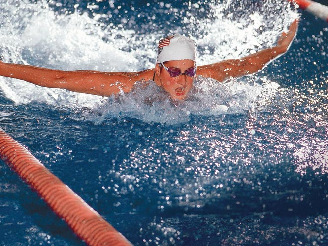 A record-setting swimmer before she was a teenager, Meagher was nearly a veteran by the time she competed in her first Olympics as a 19 year old in 1984. Though the 1980 U.S. boycott prevented her from making an earlier Olympic debut, she prevailed in Los Angeles, where she won three gold medals in the 100-meter and 200-meter butterfly, and the 4x100-meter medley. She returned to the Olympic stage in Seoul to capture the bronze medal in the 200-meter butterfly.