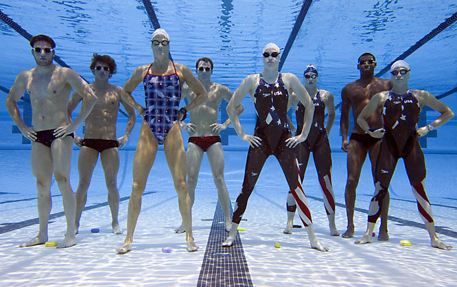 Left to right: Garrett Weber-Gale, Ryan Lochte, Dara Torres, Aaron Peirsol, Katie Hoff, Margaret Hoelzer, Cullen Jones and Natalie Coughlin.