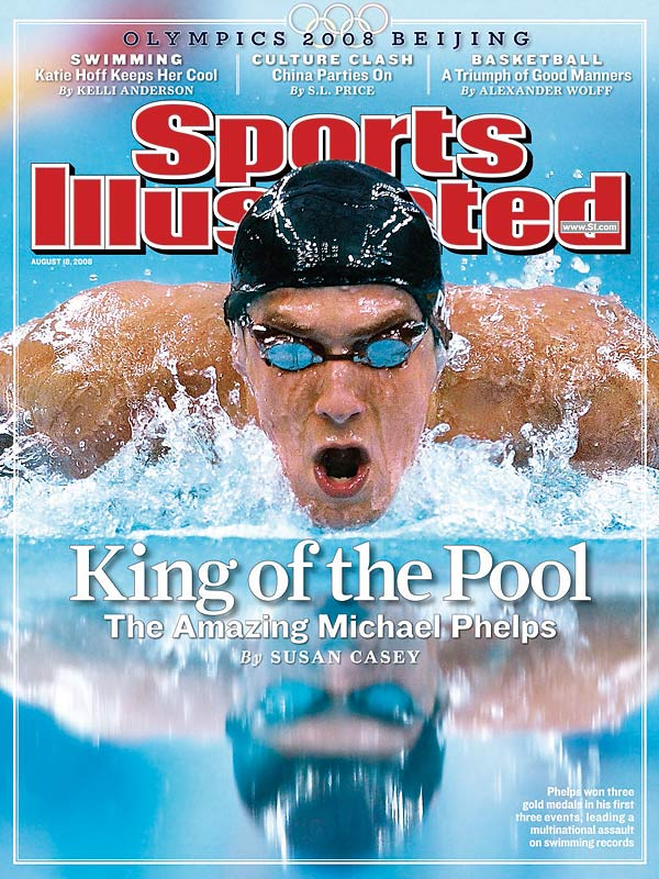 Michael Phelps got his feet and swimsuit wet before winning his first three events, including the men's 4 x100 freestyle relay.