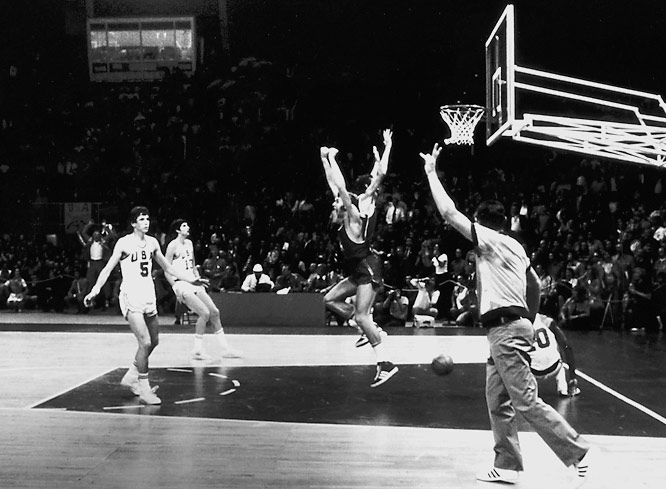 The youngest U.S. team in Olympic history saw its 63-game win snapped by the archrival Soviet Union in the final agonizing ticks of the gold medal game. Referees twice put precious seconds back on the clock with the U.S. ahead, 50-49. First, the Soviets argued they'd signaled for a time out. Then play was restarted after the final buzzer because the clock had not been reset after the first stoppage. Given yet another chance, Alexander Belov snared a full-court pass and dropped in the winning lay-up at the buzzer. The U.S. filed a formal protest with the International Basketball Federation and refused to pick up its silver medals. To this day, the members of the team have not accepted them.