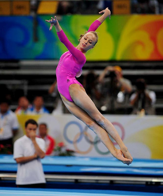 Liukin made four perfectly executed tumbling passes and earned a 15.525 in the floor exercise, taking what proved to be an insurmountable lead.