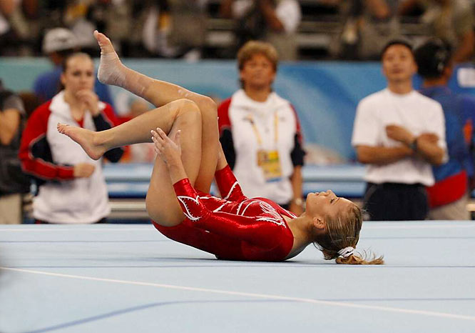 Things didn't get much better for Sacramone in the floor exercise, where she landed on her back during her second pass.