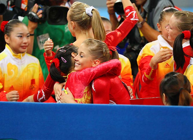 In the end Shawn Johnson and the U.S. congratulated China's champs for a job well done.