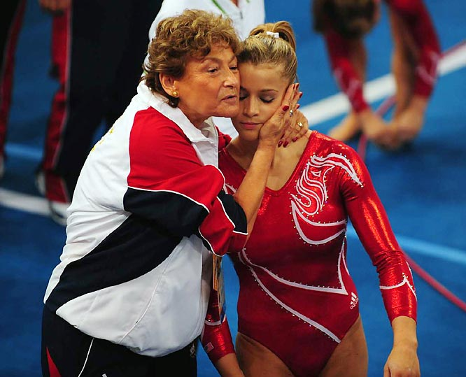Coach Martha Karolyi did her best to console and encourage Sacramone and the rest of the U.S. gymnasts.